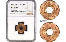 AB506, Palestine, 5 Mils 1942, London, NGC MS64RB