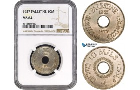 AB507, Palestine, 10 Mils 1937, London, NGC MS64