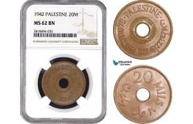 AB509, Palestine, 20 Mils 1942, London, NGC MS62BN