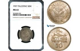 AB510, Palestine, 50 Mils 1927, London, Silver, NGC MS63