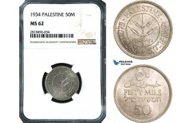 AB511, Palestine, 50 Mils 1934, London, Silver, NGC MS62