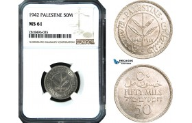 AB512, Palestine, 50 Mils 1942, London, Silver, NGC MS61