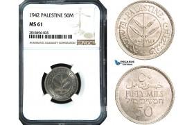 AB512, Palestine, 50 Mils 1942, London, Silver, NGC MS61