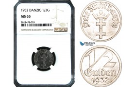 AB514, Poland, Danzig, 1/2 Gulden 1932, NGC MS65