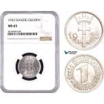 AB515, Poland, Danzig, 1 Gulden 1932, NGC MS63