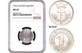 AB515, Poland, Danzig, 1 Gulden 1932, NGC MS63