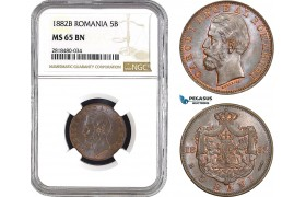 AB516, Romania, Carol I, 5 Bani 1882-B, Bucharest, NGC MS65BN, Pop 1/0