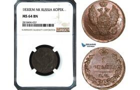 AB517, Russia, Nicholas I, 1 Kopek 1830 ЕМ-ИК, Ekaterinburg, NGC MS64BN