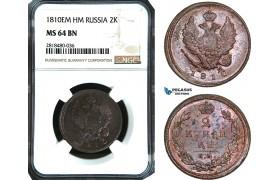 AB518, Russia, Alexander I, 2 Kopeks 1810 EM HM, Ekaterinburg, NGC MS64BN, Pop 1/0