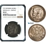 AB520, Russia, Nicholas II, Rouble 1912, St. Petersburg, Silver, NGC MS63