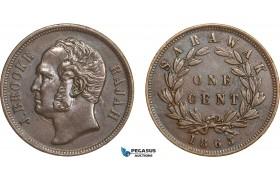 AB526, Sarawak, J. Brooke Rajah, 1 Cent 1863, XF