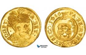 AB528, Transylvania, Gabriel Bethlen, Ducat 1616, Klausenburg, Gold (3.51g) Resch 13, Lustrous Ch UNC, Rare!