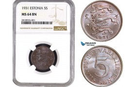 AB529, Estonia, 5 Senti 1931, NGC MS64BN