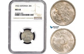 AB531, Estonia, 3 Mark 1922, NGC MS64