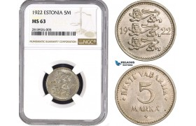 AB532, Estonia, 5 Mark 1922, NGC MS63, Tilted Rosette to left & broken B, Rare!
