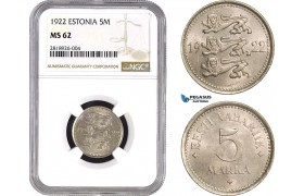 AB533, Estonia, 5 Mark 1922, NGC MS62