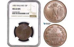 AB537, Finland (under Russia) Nicholas II, 10 Penniä 1907, Helsinki, Copper, NGC MS64BN