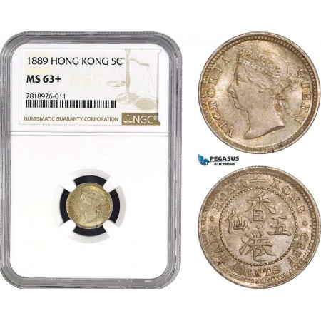 AB539, Hong Kong, Victoria, 5 Cents 1889, London, Silver, NGC MS63+