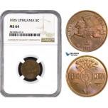 AB542, Lithuania, 5 Centai 1925, NGC MS64