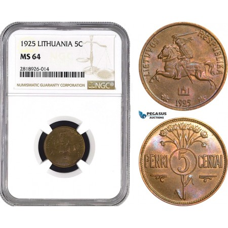 AB542, Lithuania, 5 Centai 1925, NGC MS64