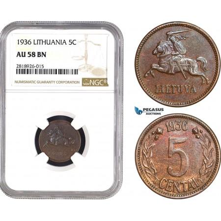 AB543, Lithuania, 5 Centai 1936, NGC AU58BN
