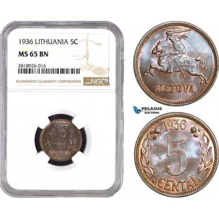AB544, Lithuania, 5 Centai 1936, NGC MS65BN