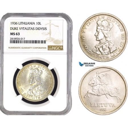 AB545, Lithuania, 10 Litu 1936, Silver, NGC MS63