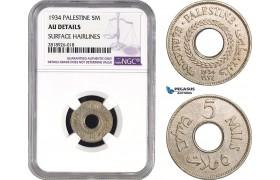 AB546, Palestine, 5 Mils 1934, London, NGC AU Details