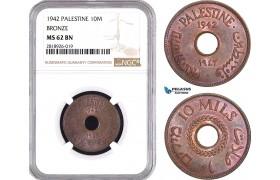 AB547, Palestine, 10 Mils 1942, London, Bronze, NGC MS62BN