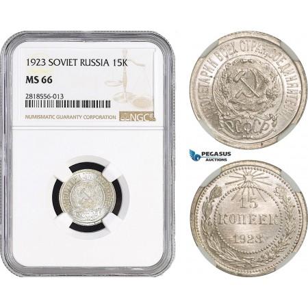 AB550, Russia (Soviet) 15 Kopeks 1923, Leningrad, Silver, NGC MS66