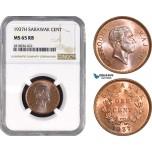 AB551, Sarawak, C.V. Brooke, 1 Cent 1937-H, Heaton, NGC MS65RB