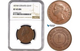 AB552, Straits Settlements, Victoria, 1 Cent 1874-H, Heaton, NGC XF45BN