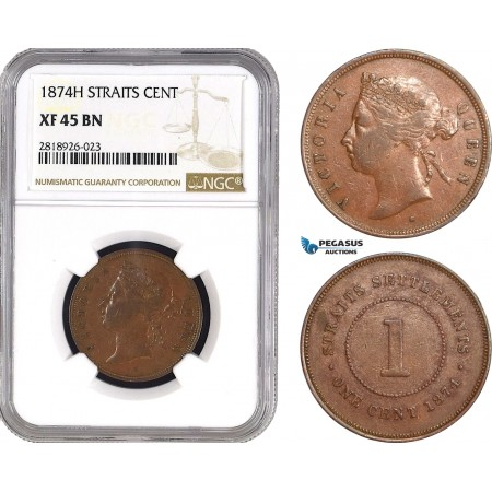 AB552, Straits Settlements, Victoria, 1 Cent 1874-H, Heaton, NGC XF45BN