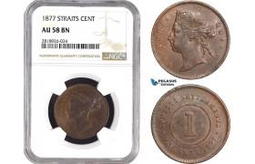 AB553, Straits Settlements, Victoria, 1 Cent 1877, NGC AU58BN