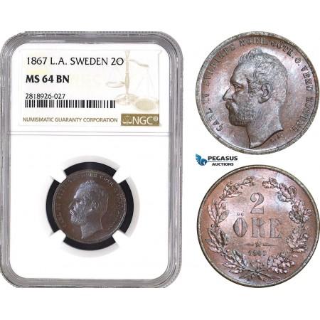 AB556, Sweden, Carl XV, 2 Öre 1867 LA, Stockholm, NGC MS64BN