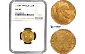 AB558, France, Napoleon III, 20 Francs 1858-A, Paris, Gold, NGC MS62