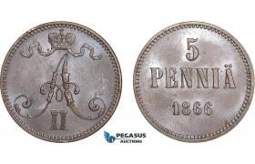 AB564, Finland under Russia, Alexander II, 5 Penniä 1866, Lustrous AU (Few marks)