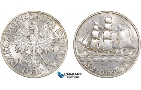 AB567, Poland, 5 Zlotych 1936 (Gdynia Seaport) Warsaw, Silver, Cleaned UNC