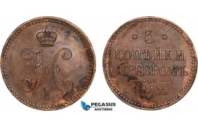 AB571, Russia, Nicholas I, 3 Kopeks 1842 СM, Suzun, Stained AU, Bit. 725 (R1) Rare!