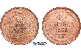 AB573, Russia, Alexander II, 3 Kopeks 1859 EM, Ekaterinburg, Cleaned AU