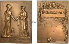 AB578, France & Greece, Bronze Plaque Medal 1857 (69x50mm, 108g) by Prud'homme, Minerva, Owl