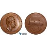 AB585, Sweden, Karl XV, Bronze Medal 1862 (Ø47.5mm, 52.9g) by Ahlborn, Western Railroad, Train