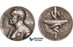 AB592, Sweden, Silver Medal ND (Ø27, 11.9g) Alfred Nobel, Swedish Medical Society, Edge filling!
