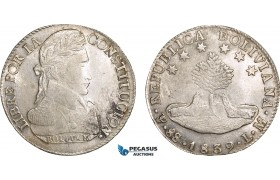 AB598, Bolivia, 8 Soles 1839 PTS LM, Potosi, Silver, Lustrous UNC (Weak corrosion)
