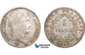 AB599, France, Napoleon, 5 Francs 1812-A, Paris, Silver, Toned XF
