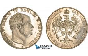 AB600, Germany, Prussia, Fr. Wilhelm IV, Vereinstaler 1861-A, Berlin, Silver, Proof