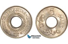 AB601, Palestine, 5 Mils 1939, London, Lustrous UNC