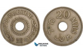 AB602, Palestine, 20 Mils 1934, London, aXF, Edge bumps, Rare!