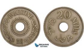 AB602, Palestine, 20 Mils 1934, London, aXF, Edge bumps, Rare!