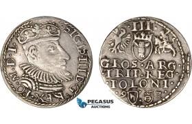 AB603, Poland, Sigismund III, 3 Groschen (Trojak) 1592, Olkusz, Silver (2.18g) (R6) VF-XF, Very Rare!